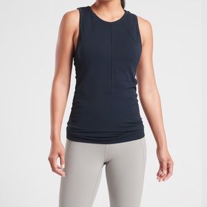 Athleta Navy Foothill Yoga Top Size Large